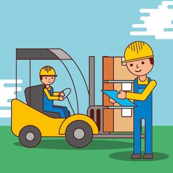 Hommes de dessin animé ouvrier livraison logistique chariot élévateur et forfaits