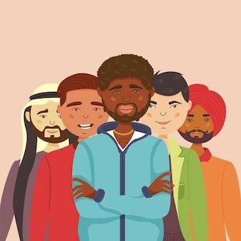 Les hommes de différentes nationalités se tiennent ensemble