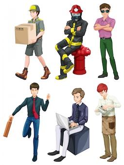 Hommes avec différentes professions