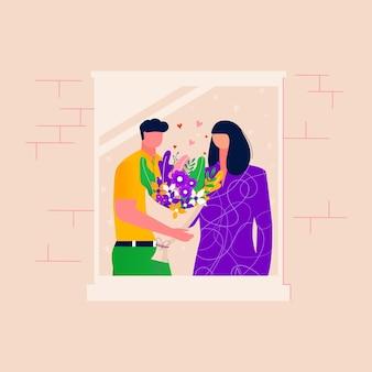 Hommes donnant des fleurs aux femmes, couple passant du temps ensemble dans une fenêtre ouverte avec un mur de briques. heureuse famille relaxante. mari et femme en train de parler. illustration vectorielle de relation amoureuse
