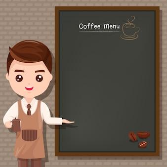 Les hommes du personnel a recommandé le menu du café