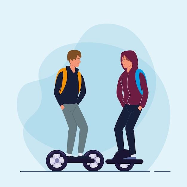 Hommes équitation transport électrique