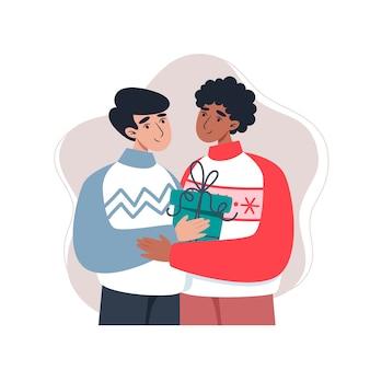 Hommes étreignant et tenant un cadeau dans un style plat