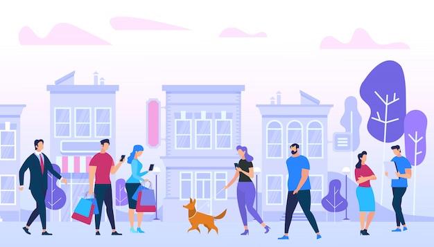 Hommes et femme marchant dans la ville.