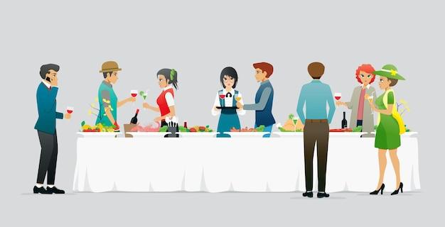 Hommes et femmes célèbrent un banquet sur fond gris