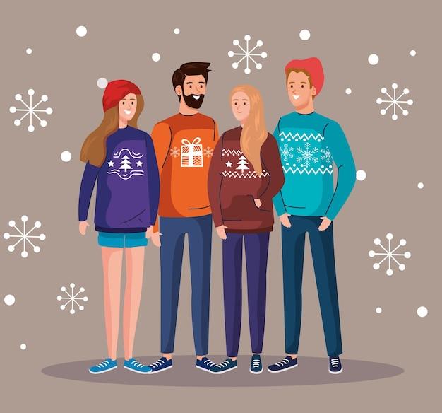 Hommes et femmes avec conception de chandails de joyeux noël, illustration de thème de saison d'hiver et de décoration