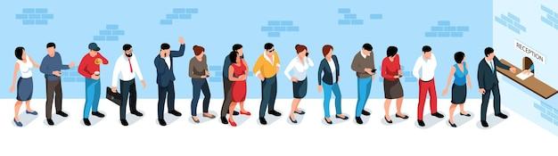Hommes et femmes debout dans une longue file d'attente à la réception 3d illustration isométrique