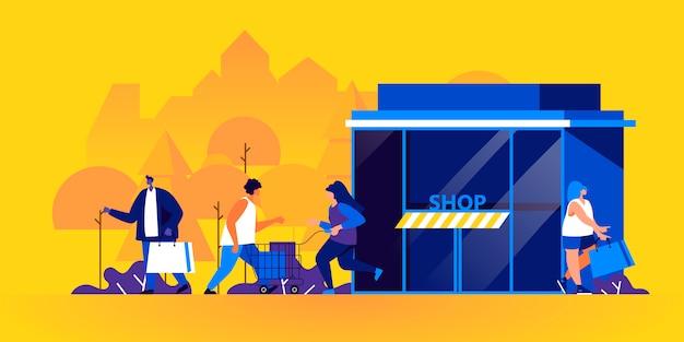 Hommes et femmes drôles avec des sacs à provisions et des chariots à l'extérieur du magasin