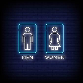 Hommes et femmes enseigne au néon