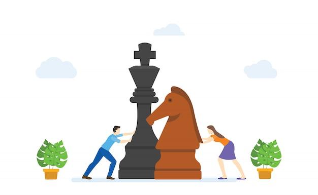 Les hommes et les femmes jouent de gros morceaux d'échecs concept stratégie business style cartoon plat moderne.