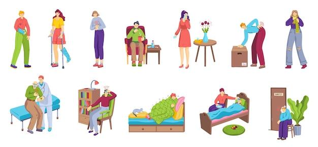 Hommes et femmes malades malheureux souffrant de douleurs ou de maladies