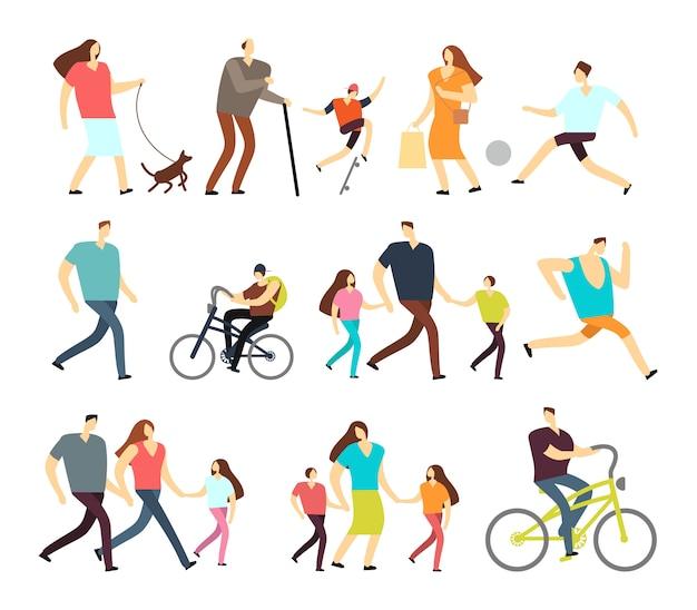 Hommes et femmes marchant en plein air. personnages de dessins animés actifs dans différents styles de vie dans la rue