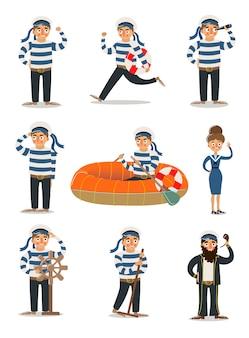 Hommes et femmes marins en illustration uniforme rayé traditionnel