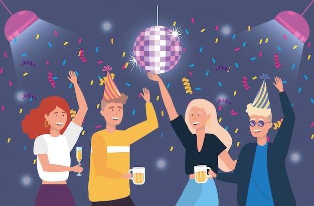Hommes et femmes mignons danser avec une décoration de confettis
