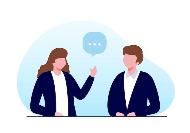Hommes et femmes parlant ou concept de remue-méninges. bannière d'illustration vectorielle plane et page de destination.