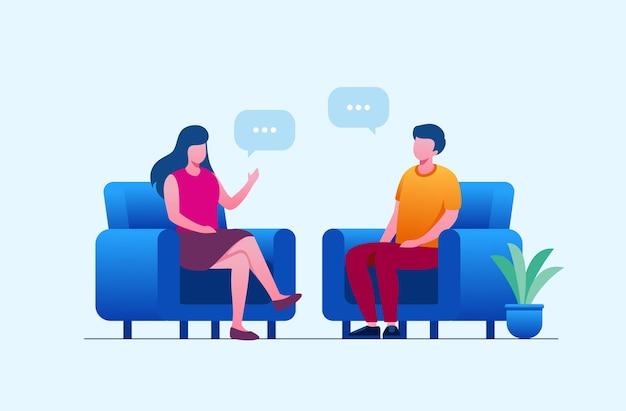 Hommes et femmes parlant ou concept de remue-méninges bannière d'illustration vectorielle plate et page de destination