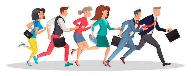 Hommes et femmes qui courent dans la même direction pour travailler