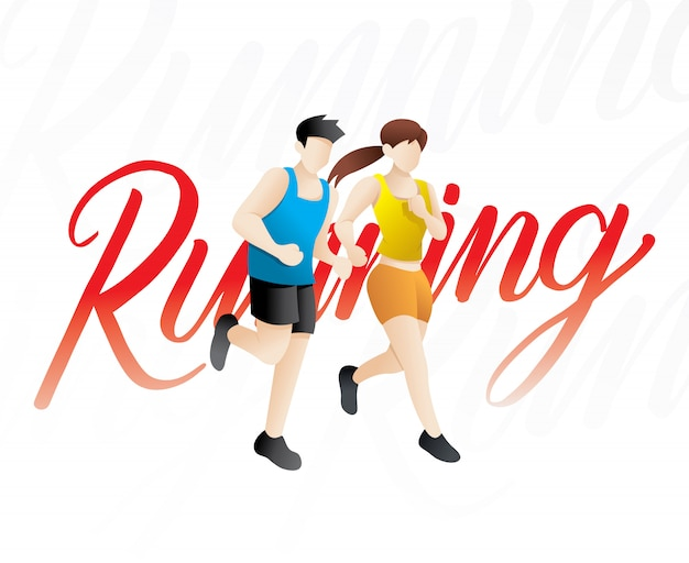 Hommes et femmes qui courent