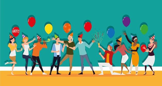 Les hommes et les femmes s'amusent en fête avec des ballons et des confettis