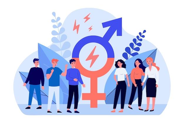 Hommes Et Femmes Se Disputant Dans Un Design Plat Vecteur Premium