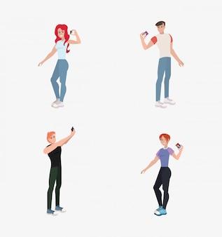 Hommes et femmes avec selfie mobile