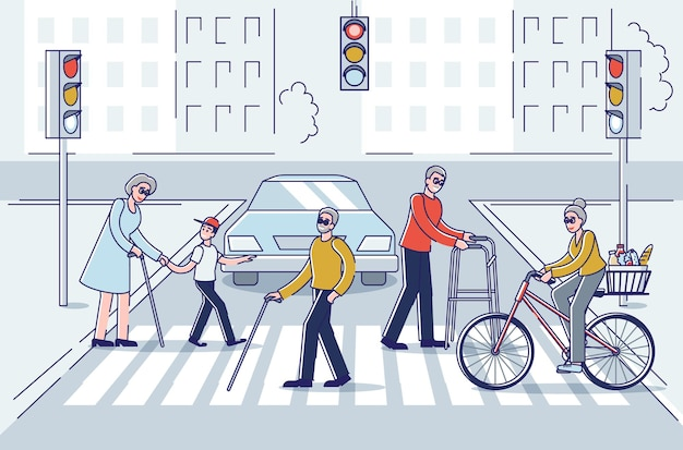 Hommes et femmes seniors marchant en ville