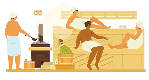 Hommes et femmes en serviettes dans un sauna ou une bania avec détente à la vapeur. banc en bois intérieur de bathhouse, balais de bouleau, cuisinière avec bois de chauffage, seaux, thermomètre, huiles essentielles. illustration plate.