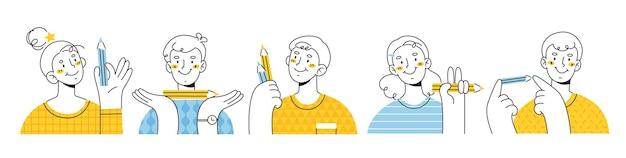 Des hommes et des femmes souriants tiennent des crayons dans leurs mains. caractère moderne de style lineart. artiste, peintre, éditeur.