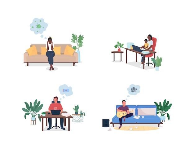 Hommes et femmes stressés à la maison jeu de caractères sans visage et détaillés de couleur plate