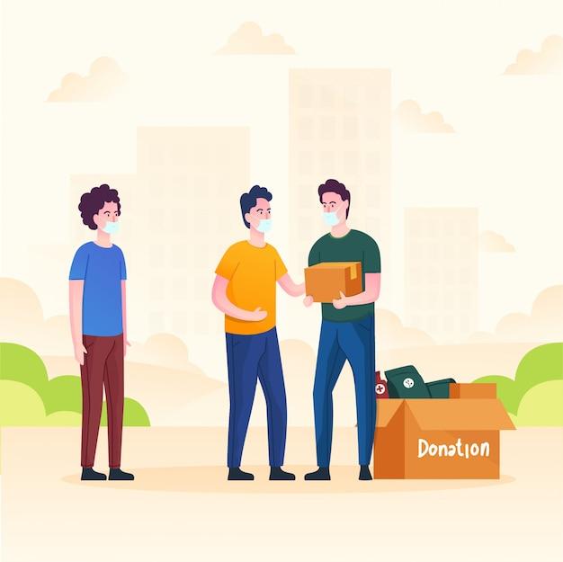 Des hommes font un don pour aider les gens