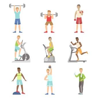 Hommes, formation, dans, ensemble gymnase