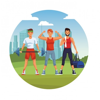 Des hommes en forme faisant de l'exercice