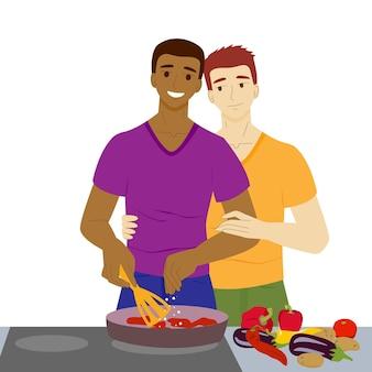 Les hommes gais cuisinent ensemble lgbt homosexuel famille homme noir et blanc dans la cuisine vecteur stock