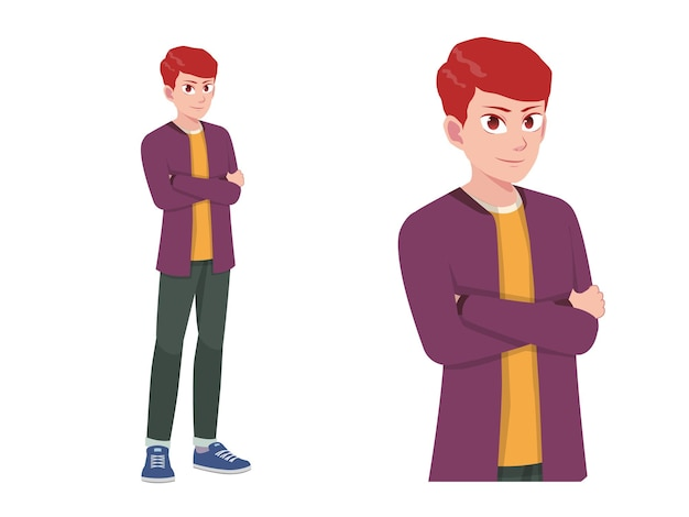Hommes ou garçon debout happy expression pose cartoon illustration