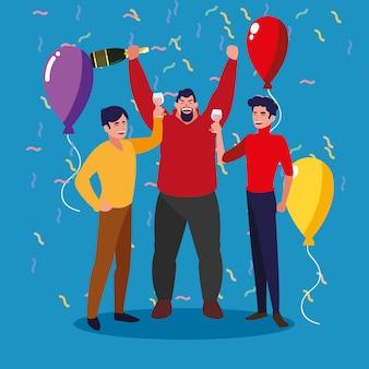 Les hommes heureux fête célébrer le personnage d'avatar
