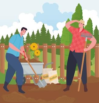 Hommes de jardinage avec pelle brouette et conception de râteau, plantation de jardin et nature