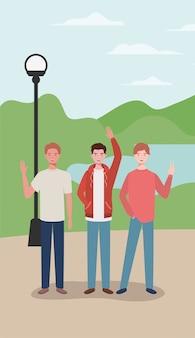 Hommes jeunes et occasionnels dans les personnages du parc
