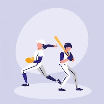 Hommes jouant au baseball isolé icône