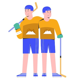 Hommes jouant au hockey sur glace ensemble