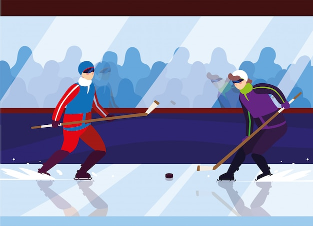 Hommes jouant au hockey, joueurs de hockey avec bâton de hockey, rondelle de hockey sur glace
