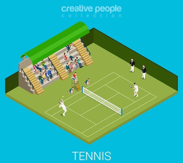 Les hommes jouent au tennis match match illustration isométrique