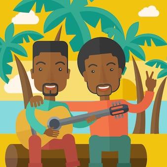 Les hommes jouent de la guitare.