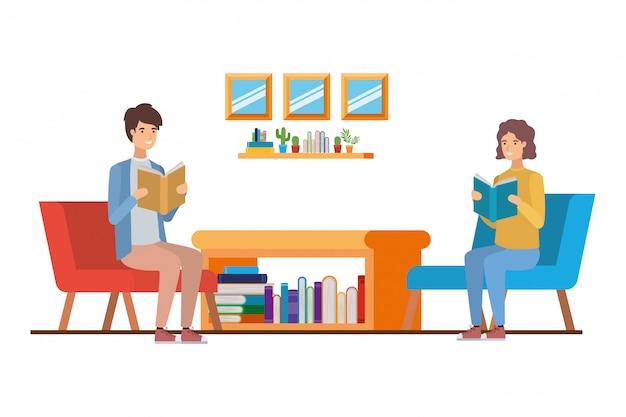 Hommes avec livre dans les mains dans le salon