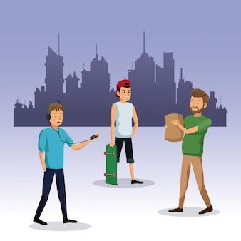 Hommes marchant avec sac shop skateboard fond de ville