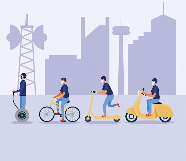 Hommes, à, masques, sur, hoverboard, scooter, vélo, et, moto