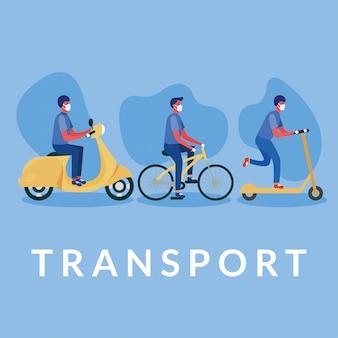 Hommes, à, masques, sur, scooter, vélo, et, moto