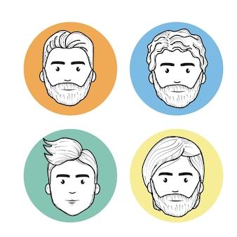 Les hommes mignons face à la coiffure et l'expression