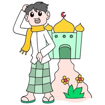 Les hommes musulmans rentrent de la mosquée à pied pour adorer, illustration vectorielle art. doodle icône image kawaii.