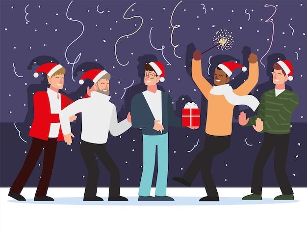 Hommes de noël célébrant l'illustration de décoration de confettis cadeau de fête