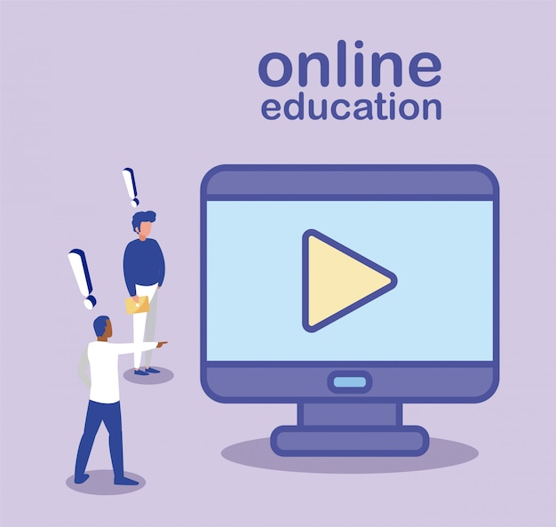 Hommes avec ordinateur de bureau, éducation en ligne